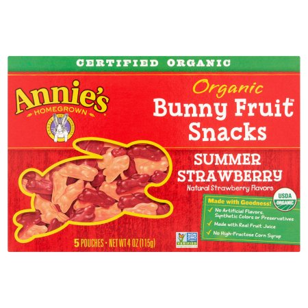 Annie's Homegrown Organic Bunny Fruit Snacks Summer Strawberry 5 Pouches 4 oz
