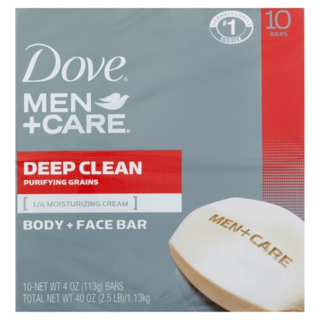 Dove Men+Care Deep Clean Body and Face Bar, 4 oz, 10 Bar