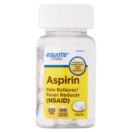 Equate Aspirin Coated Tablets, 325 mg, 100 count