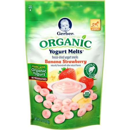 Gerber Organic Yogurt Melts Freeze-Dried Yogurt Snacks Banana Strawberry, Naturally Flavored with Other Natural Flavors , 1 Ounce, 1 Count