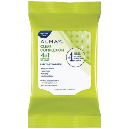 Almay Clear Complexion 4-in-1 Makeup Remover Purifying Towelettes, 25 count