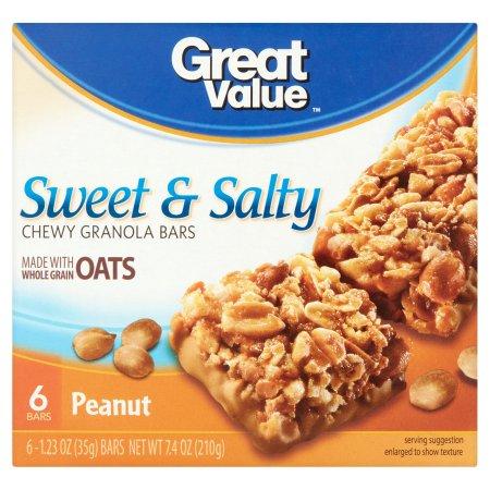 Great Value Sweet & Salty Peanuts Granola Bar, 6 pk