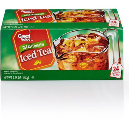 Great Value: 100% Natural Family Size Decaffeinated Tea, 5.25 Oz