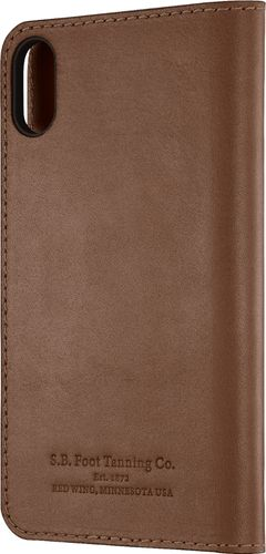 Platinum - Genuine American Leather Folio Case for Apple® iPhone® X and XS - Bourbon
