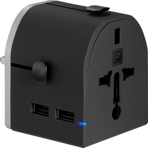 Platinum - All-in-One Travel Adapter with 2 USB Ports - Black