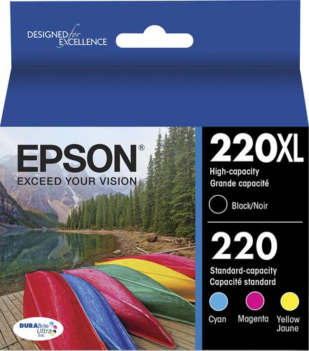 Epson - 220/220XL 4-Pack Ink Cartridges - High Capacity Black and Standard Capacity Cyan/Magenta/Yellow - Cyan/Magenta/Yellow/Black