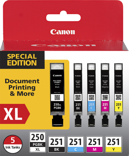 Canon - 250 XL/CLI-251 5-Pack Special Edition Ink Cartridges - Black/Cyan/Magenta/Yellow