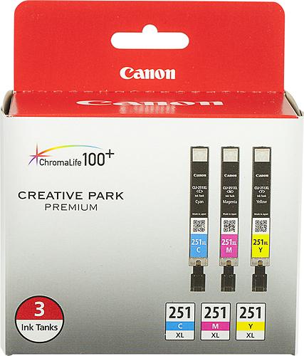 Canon - 251 XL 3-Pack High-Yield Ink Cartridges - Cyan/Magenta/Yellow