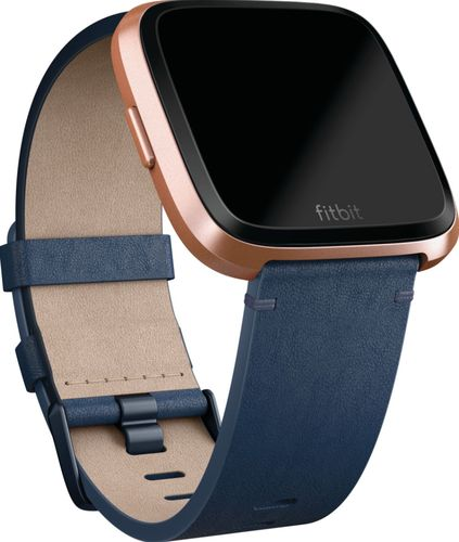 Fitbit - Leather Small Band for Fitbit Versa - Midnight Blue