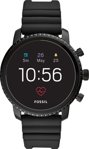 Fossil - Gen 4 Explorist HR Smartwatch 45mm Stainless Steel - Black with Black Silicone Strap