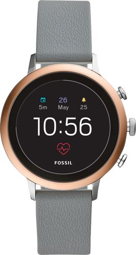 Fossil - Gen 4 Venture HR Smartwatch 40mm Stainless Steel - Rose Gold with Gray Silicone Strap