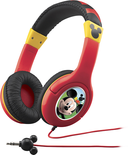 eKids - Mickey Mouska-riffic Over-the-Ear Headphones - Red