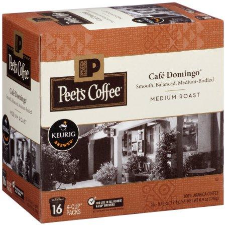 Peet's Coffee Cafe Domingo Medium Roast Coffee K-Cup Packs, 0.43 oz, 16 count