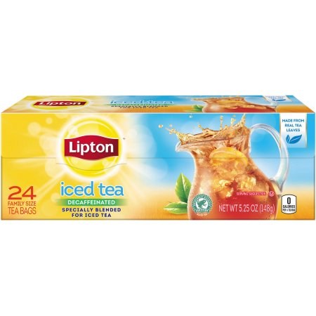 Lipton Decaffeinated, Unsweetened Family-Sized Black Iced Tea Bags, 24 ct