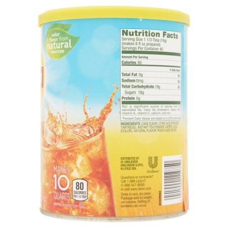 Lipton Peach Sweetened Iced Tea Mix, 10 qt