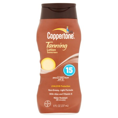 Bayer Coppertone Broad Spectrum SPF 15 Tanning Lotion Sunscreen 8 fl oz