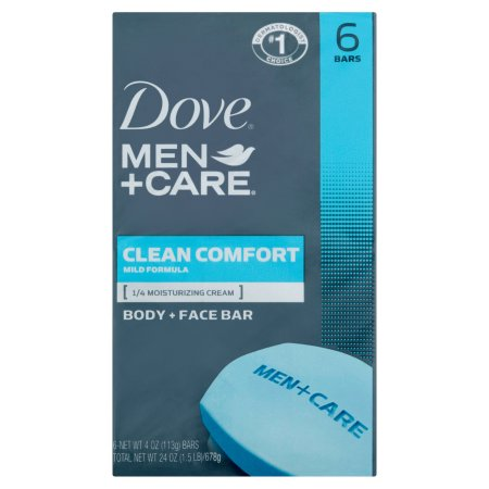 Dove Men+Care Clean Comfort Body and Face Bar, 4 oz, 6 Bar