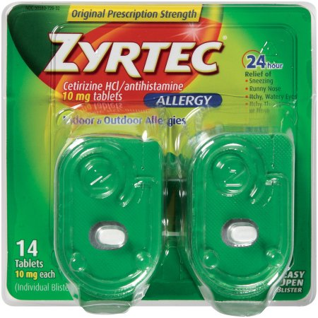 Zyrtec Tablets, 14 Count, 10 Mg