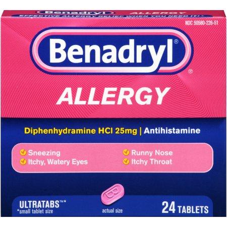 Benadryl Allergy Ultratabs Tablets, 24 Count