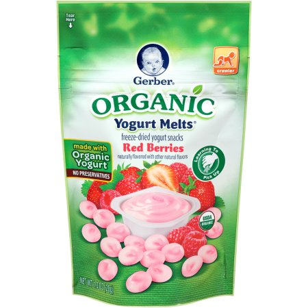 Gerber Organic Yogurt Melts Freeze-Dried Yogurt Snacks, Red Berries, Naturally Flavored with Other Natural Flavors, 1 Ounce, 1 Count