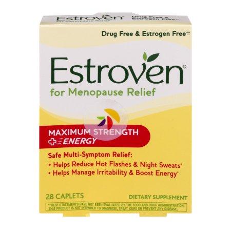 Estroven Maximum Strength + Energy Multi-Symptom Menopause Relief Dietary Supplement Caplets, 28 count