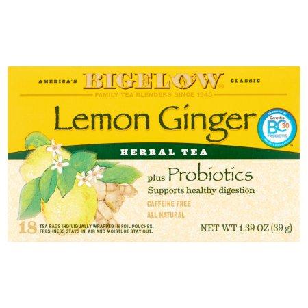 Bigelow® Lemon Ginger Plus Probiotics Herbal Tea Bags 1.39 oz. Box