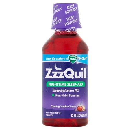 Zzzquil Night Time Sleep-Aid Liquid Syrup, Calming Vanilla Cherry - 12 oz