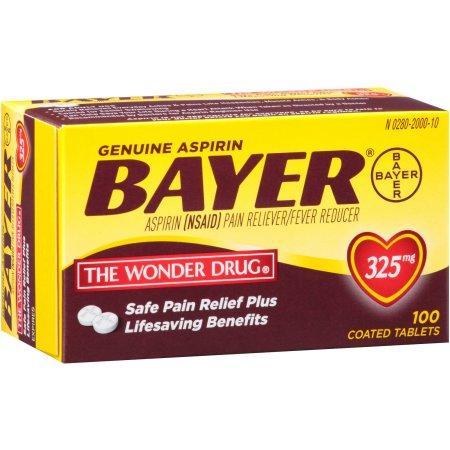 Genuine Bayer Aspirin Coated Tablets, 325mg, 100 count
