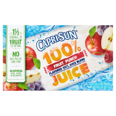 Capri Sun 100%  Fruit Punch Juice, 10 count, 60 FL OZ (1.77l)
