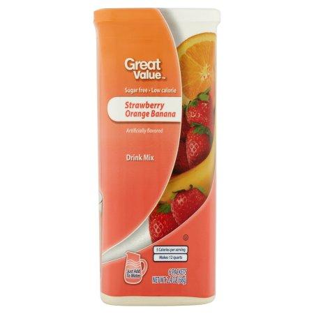 Great Value: Strawberry Orange Banana 6 Tubs Drink Mix,