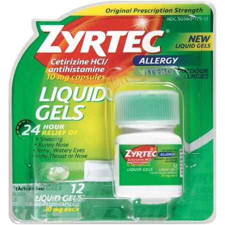 Zyrtec Allergy Liquid Gels, 24 Hour , 12 Count