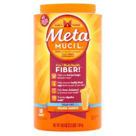 Metamucil Sugar Free Psyllium Fiber Supplement Orange Smooth Texture Powder (Choose your Size)