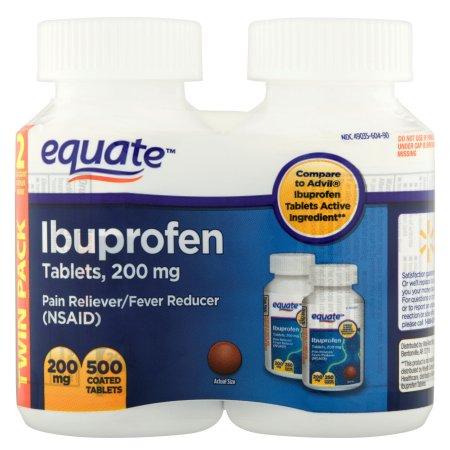 Equate Ibuprofen 200mg Tablets, 2X250 count