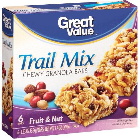 Great Value Fruit & Nut Trail Mix Granola Bar, 6 pk