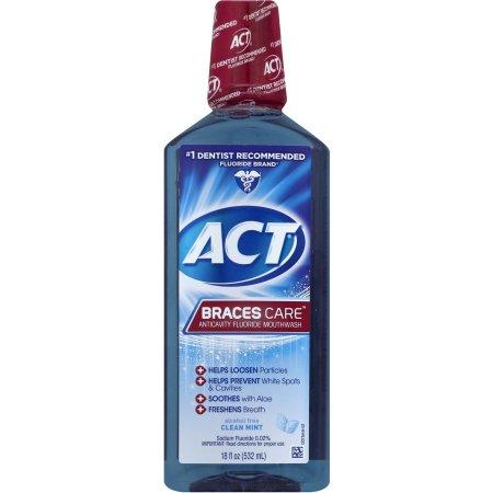 ACT Braces Care Anticavity Fluoride Mouthwash, 18 Fl Oz