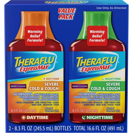 Theraflu Cold & Flu Relief Expressmax Day/Night Value Pack, Berry Flavor Syrup, 8.3 fl oz, 2 Count