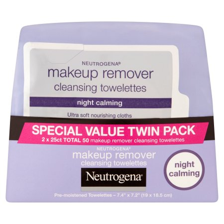 Neutrogena Night Calming Makeup Remover Cleansing Towelettes Special Value Twin Pack