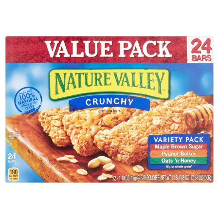 Nature Valley Crunchy Granola Bar Variety Pack of Maple Brown Sugar Peanut Butter and Oats 'n Honey Bars 1.49 oz 12/2-Bar Pouches 24 ct Value Pack Box