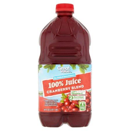 Great Value 100% Cranberry Juice, 64 fl oz
