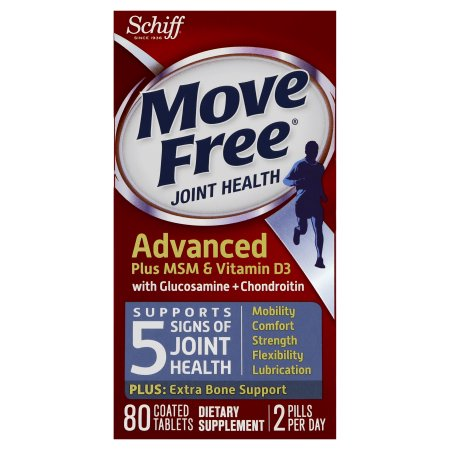 Move Free Advanced Glucosamine Chondroitin MSM Vitamin D3 and Hyaluronic Acid Joint Supplement, 80 Count