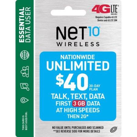 NET10 Wireless $40 30-Day Plan Prepaid Phone Card