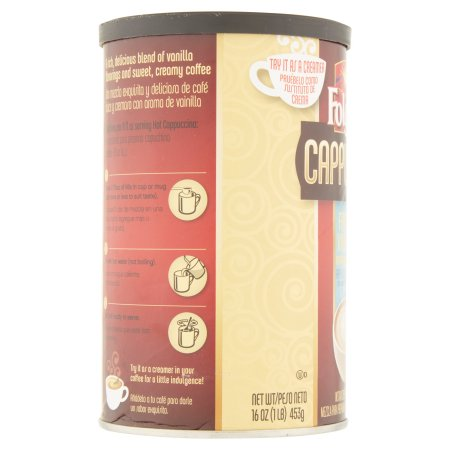 Folgers Cappuccino French Vanilla Instant Coffee Beverage Mix, 16.0 OZ