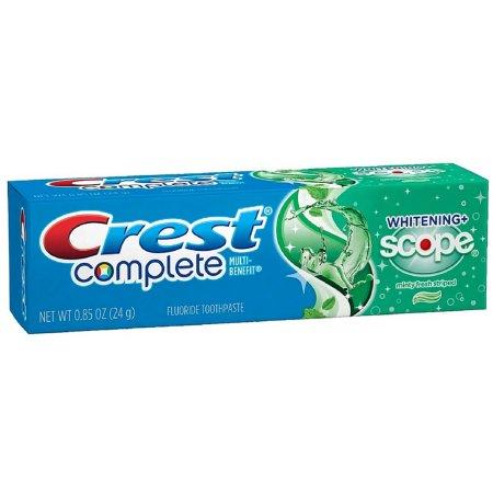 Crest Complete Multi-Benefit Fluoride Toothpaste, Whitening + Scope, Minty Fresh 0.85 oz