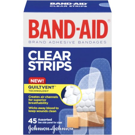Band-Aid Brand Perfect Blend Clear Assorted Adhesive Bandages, 45 count
