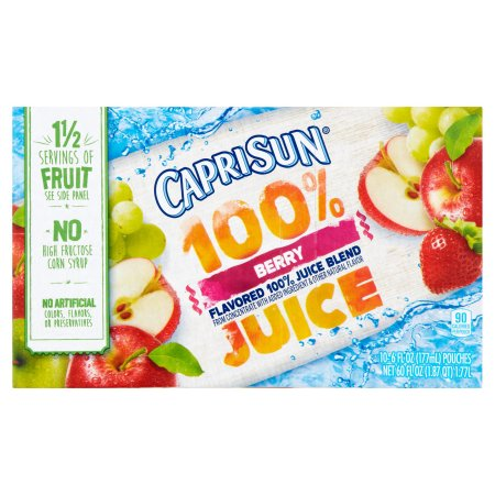 Capri Sun 100% Berry Juice, 10 count, 60 FL OZ (1.77l)