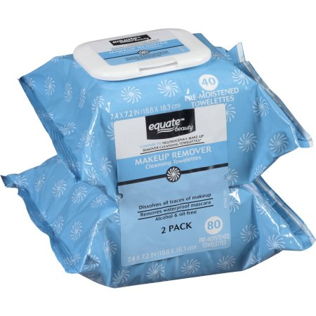 Equate Makeup Remover Cleansing Towelettes, 40 Ct, 2 Pack