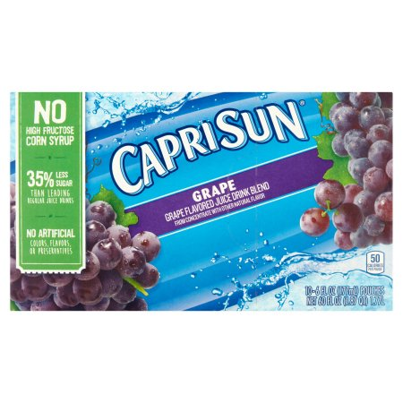 Capri Sun Grape Juice Drink Blend, 10 count, 60 FL OZ (1.77l)