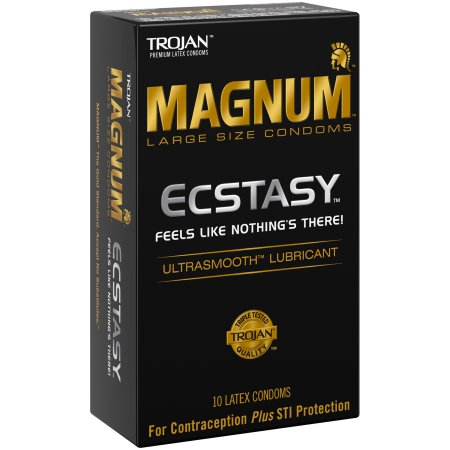 Trojan Magnum Large Size Condoms Ecstasy Ultrasmooth Lubricant - 10 CT