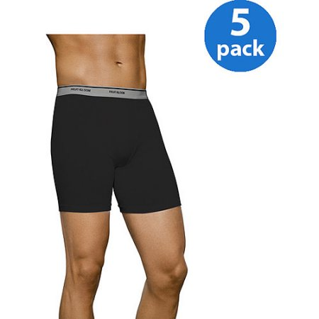 Fruit of the Loom Men's Fashion Print Solid Boxer Briefs, 5-Pack