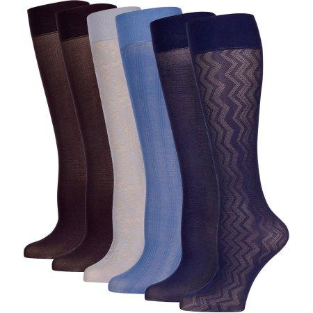 Peds Ladies Vertical Zig Zag Trouser Socks, 6 Pairs